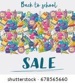 back to school sale doodle clip ... | Shutterstock .eps vector #678565660