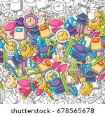 school elements clip art doodle ... | Shutterstock .eps vector #678565678