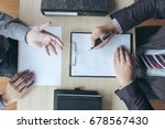 job interview  young attractive ... | Shutterstock . vector #678567430