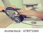 close up working call center...   Shutterstock . vector #678571060