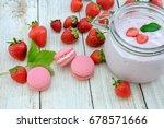 strawberry yogurt jar with... | Shutterstock . vector #678571666