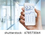 smartphone screen with stock... | Shutterstock . vector #678573064
