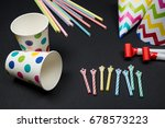 set of birthday party items on... | Shutterstock . vector #678573223