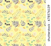 seamless yellow floral... | Shutterstock . vector #678576139