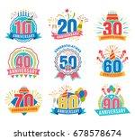anniversary numbers set.... | Shutterstock .eps vector #678578674