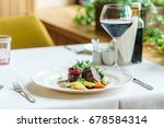 dinner in the restaurant | Shutterstock . vector #678584314