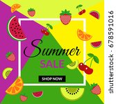 fruit discount sale banner shop ... | Shutterstock .eps vector #678591016