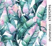 banana leaf seamless pattern....   Shutterstock . vector #678592996