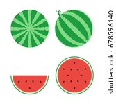 whole watermelon and slice set. ... | Shutterstock .eps vector #678596140