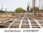 Small photo of post tension system, concrete reinforcement with tension cables in the structure of beam, system bridge gird floor, floor building underconstruction site, Steel structure Make the structure stronger