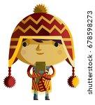 peruvian boy with coyan cap | Shutterstock .eps vector #678598273