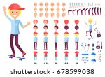 cheerful teenage skater boy in... | Shutterstock .eps vector #678599038