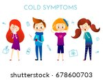 sick child with fever  illness .... | Shutterstock .eps vector #678600703