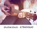 female hand is learning to play ... | Shutterstock . vector #678604660