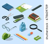 books  paper documents in... | Shutterstock .eps vector #678609709