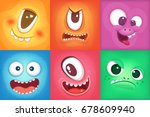 monster cartoon faces. demon... | Shutterstock .eps vector #678609940