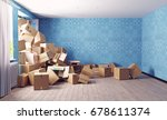 the room heaping with card... | Shutterstock . vector #678611374