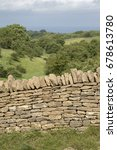 Small photo of Countryside and Stone Wall, Broadway; Worcestershire; England; UK