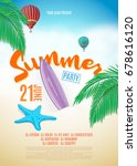 vector summer party poster... | Shutterstock .eps vector #678616120