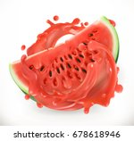 watermelon juice. fresh fruit.... | Shutterstock .eps vector #678618946