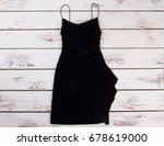 little black dress  wooden... | Shutterstock . vector #678619000