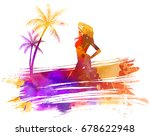 abstract painted splash shape... | Shutterstock .eps vector #678622948