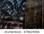 usa flag on a wood surface | Shutterstock . vector #678625006