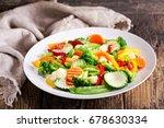 plate of stir fry vegetables on ... | Shutterstock . vector #678630334