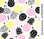 seamless pattern of pineapple... | Shutterstock .eps vector #678630583