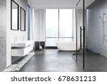 gray concrete bathroom interior ... | Shutterstock . vector #678631213