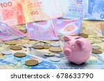 piggy bank with banknote and... | Shutterstock . vector #678633790