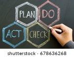 pdca  plan  do  check  action   ... | Shutterstock . vector #678636268