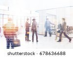 white open space office... | Shutterstock . vector #678636688