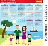 spanish calendar 2018. vector...   Shutterstock .eps vector #678637738