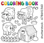 coloring book with farm animals ... | Shutterstock .eps vector #678641560