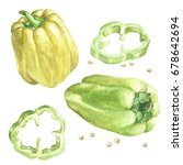 watercolor hand drawn peppers ... | Shutterstock . vector #678642694