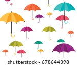 colorful umbrella icons rainy...
