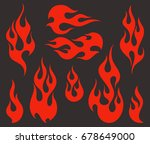 red fire  old school flame... | Shutterstock .eps vector #678649000