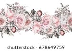Stock photo isolated seamless border with pink flowers leaves vintage watercolor floral pattern with leaf and 678649759