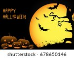 halloween pumpkins with bat and ... | Shutterstock .eps vector #678650146