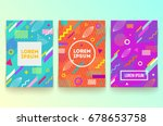 Vector set of abstract memphis style retro background with multicolored simple geometric shapes and copy space frame | Shutterstock vector #678653758