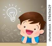 children boy thinking idea and... | Shutterstock .eps vector #678656629