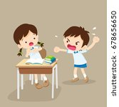 quarreling kids. angry boy... | Shutterstock .eps vector #678656650