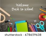 welcome back to school with... | Shutterstock . vector #678659638