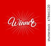 winner hand written lettering... | Shutterstock .eps vector #678661120