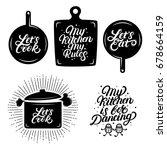kitchen hand written lettering... | Shutterstock .eps vector #678664159