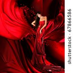 woman in red dress with long... | Shutterstock . vector #67866586