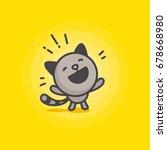 Cute Happy Cat Logo On A Yello...