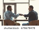 happy youthful guys cooperating ... | Shutterstock . vector #678678478