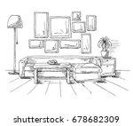 linear sketch of an interior.... | Shutterstock .eps vector #678682309